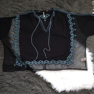 Free People Mesh Aztec Poncho Pullover